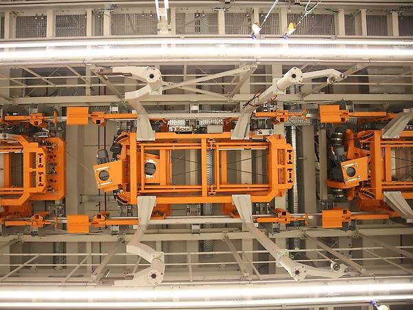 Orange electrified monorail system (cockpit system) with servodrive and controlller