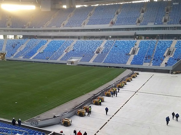 Pitch moving in the stadium