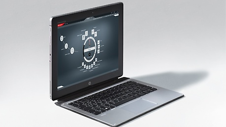 An open laptop with software