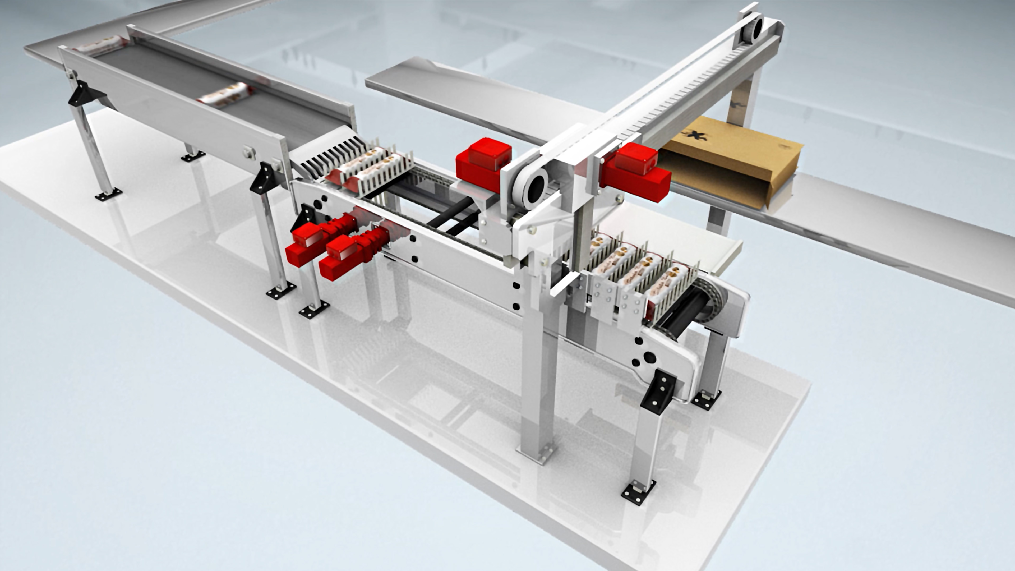 Packaging machine with red drives