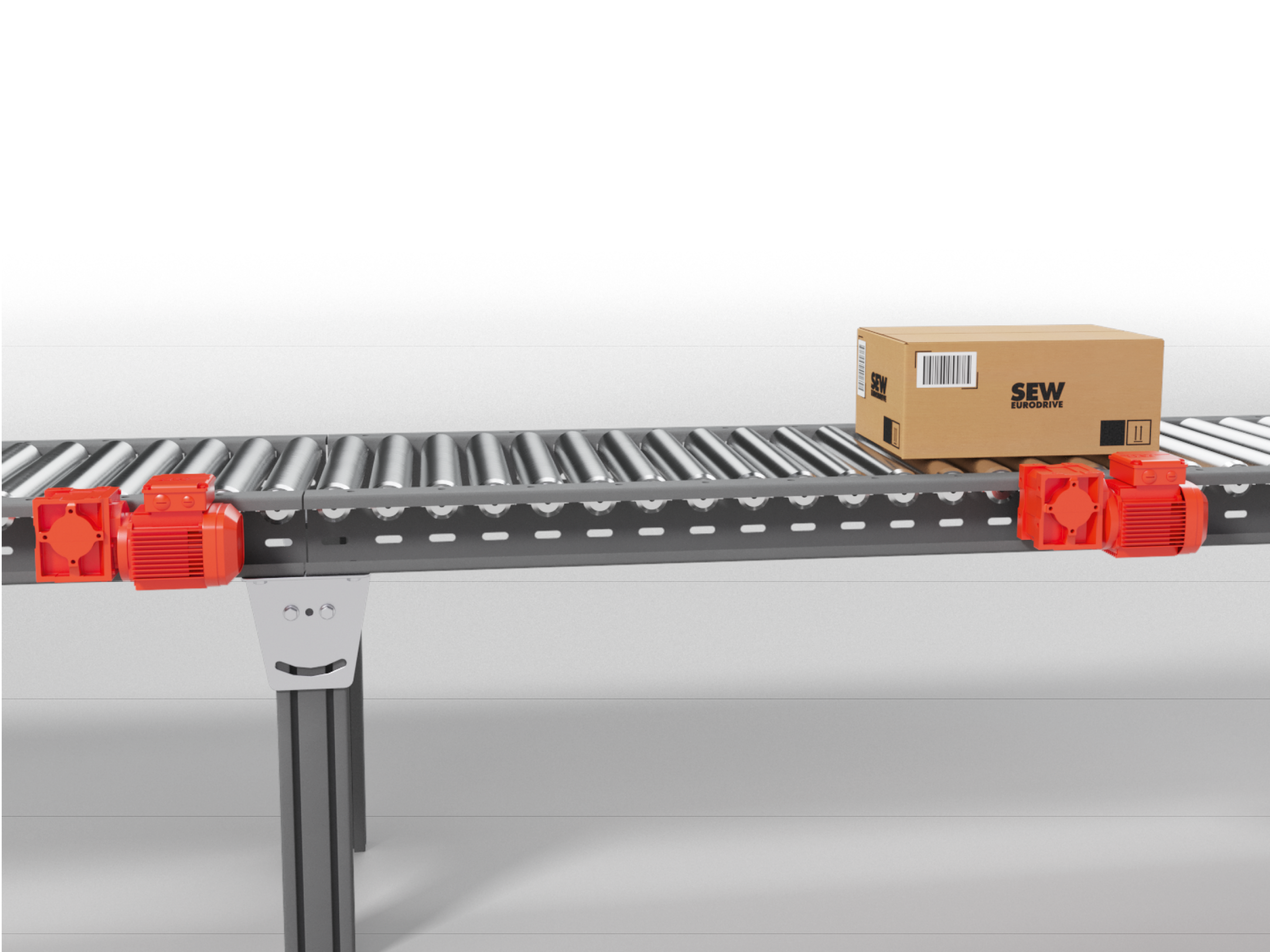 Conveyor belt with red gear units and SEW package